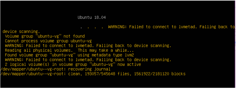 """Wie behebt man den Fehler """"Verbindung zu lvmetad fehlgeschlagen"""" unter Ubuntu?"""