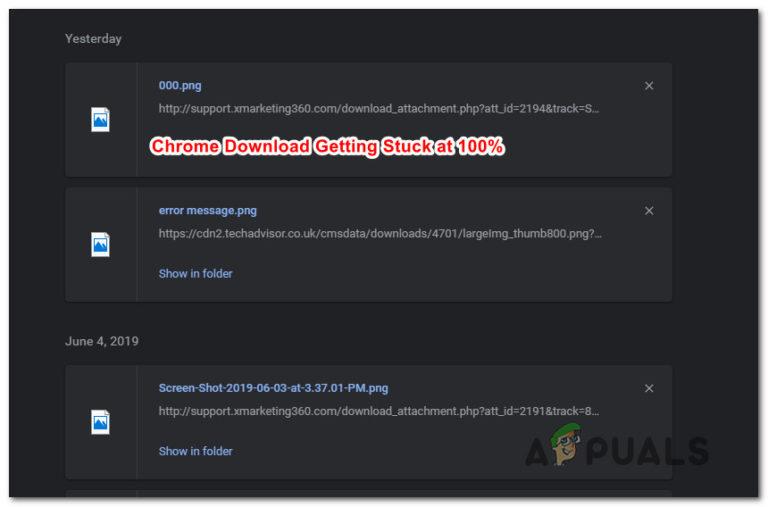 So beheben Sie, dass Google Chrome-Downloads zu 100% hängen bleiben