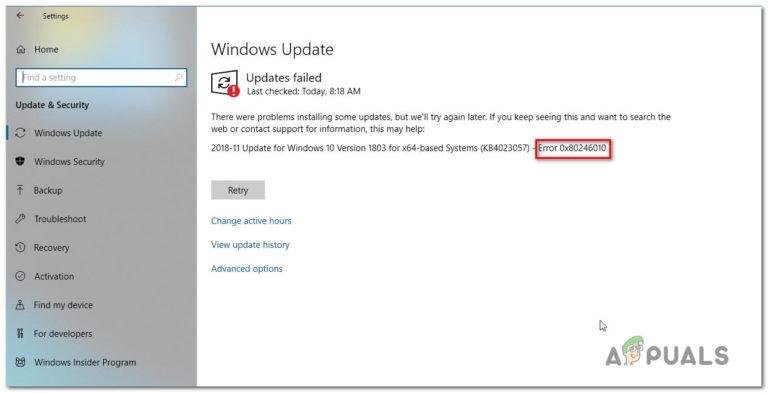 So beheben Sie den Windows Update-Fehler 0x80246010