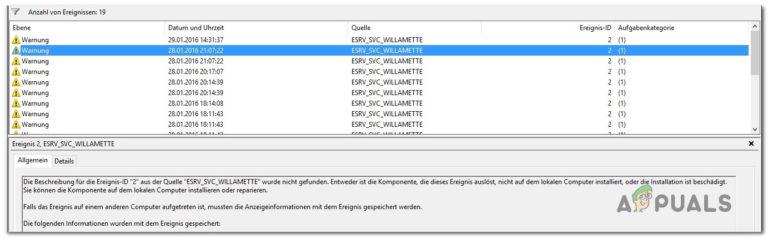 So beheben Sie ESRV_SVC_WILLAMETTE-Fehler in der Ereignisanzeige
