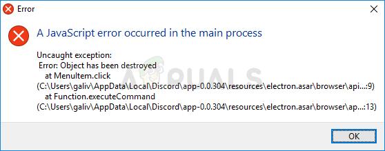 """Wie behebt man den Fehler """"Ein JavaScript-Fehler ist im Hauptprozess aufgetreten"""" in Discord?"""