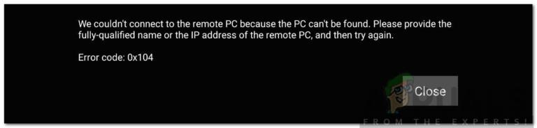 Wie behebt man den Remotedesktop-Fehlercode 0x104?