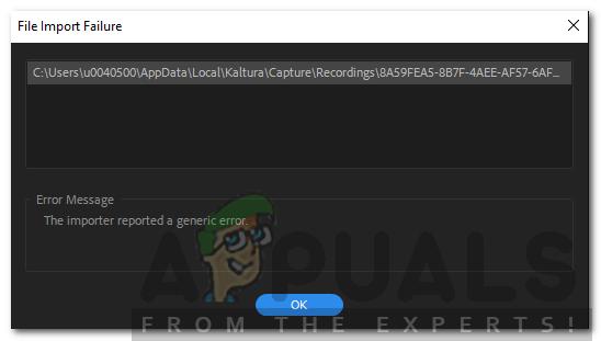 So beheben Sie den Importer Hat in Adobe Premiere einen allgemeinen Fehler gemeldet
