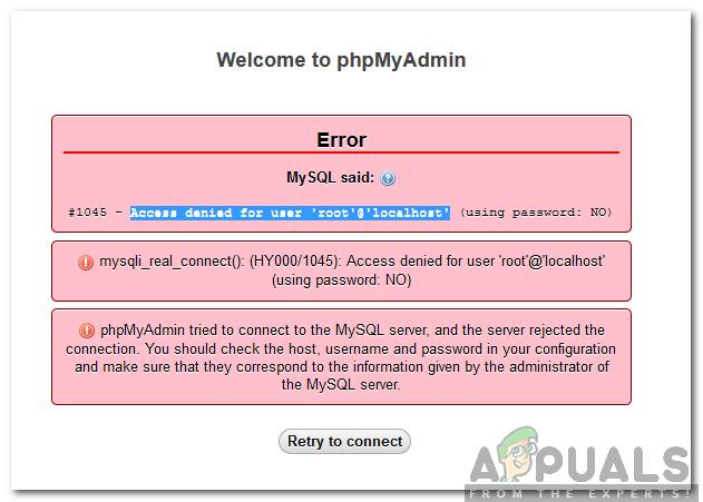 So beheben Sie den für Benutzer 'root' @ 'localhost' verweigerten Zugriff Fehler unter MySQL