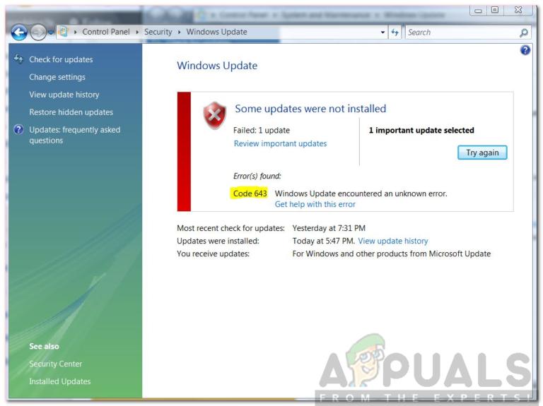 So beheben Sie den Windows Update-Fehlercode 643