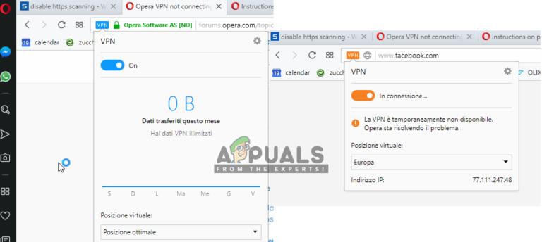 Fix: Opera VPN funktioniert nicht