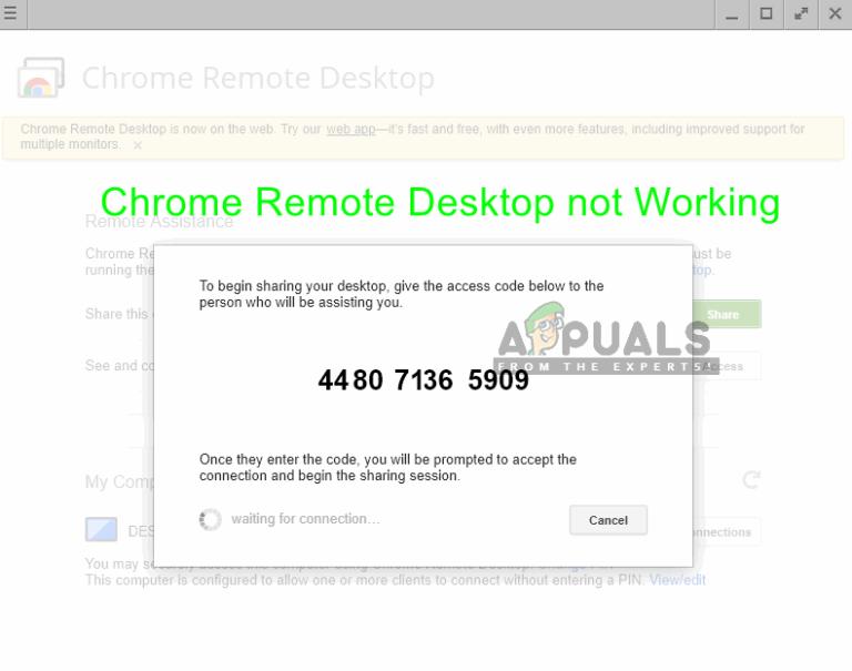 Fix: Chrome Remote Desktop funktioniert nicht