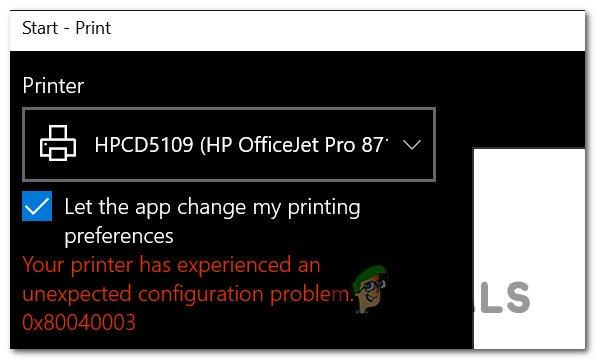 Fix: Ihr Drucker hat ein unerwartetes Konfigurationsproblem festgestellt