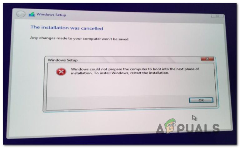 Fix: Windows konnte den Computer nicht für den Start in die nächste Installationsphase vorbereiten