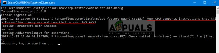 Fix: Ihre CPU unterstützt Anweisungen, dass diese TensorFlow-Binärdatei nicht für die Verwendung von AVX2 kompiliert wurde