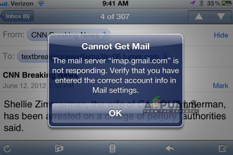 Fix: imap.gmail.com antwortet nicht auf iPhone / iPad