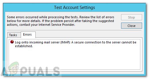 Fix: Eine sichere Verbindung zum Server kann in Outlook nicht hergestellt werden