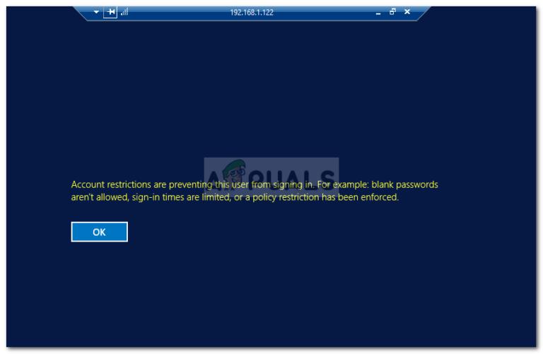 Fix: Kontobeschränkungen verhindern, dass sich dieser Benutzer anmeldet