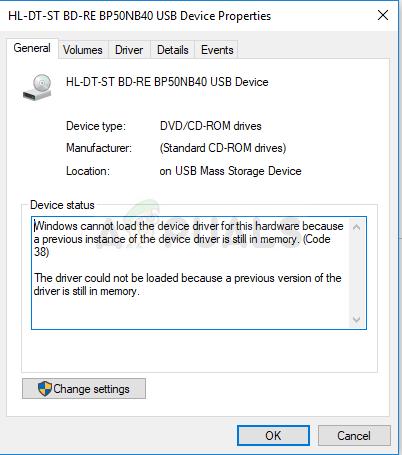 Fix: Windows kann den Gerätetreiber für diese Hardware nicht laden, da sich noch eine vorherige Instanz des Gerätetreibers im Speicher befindet (Code 38).