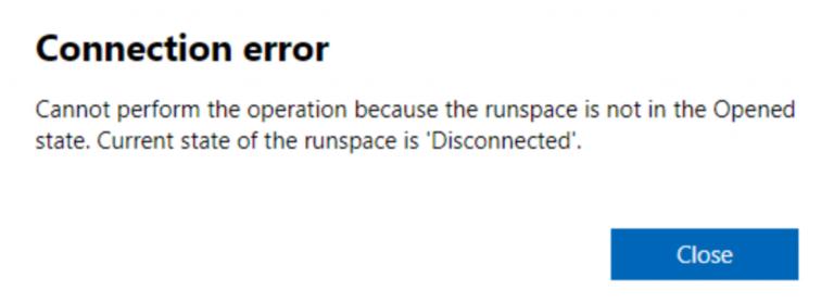 """Fix: Derzeit ist der Runspace im Windows Admin Center """"Disconnected"""""""