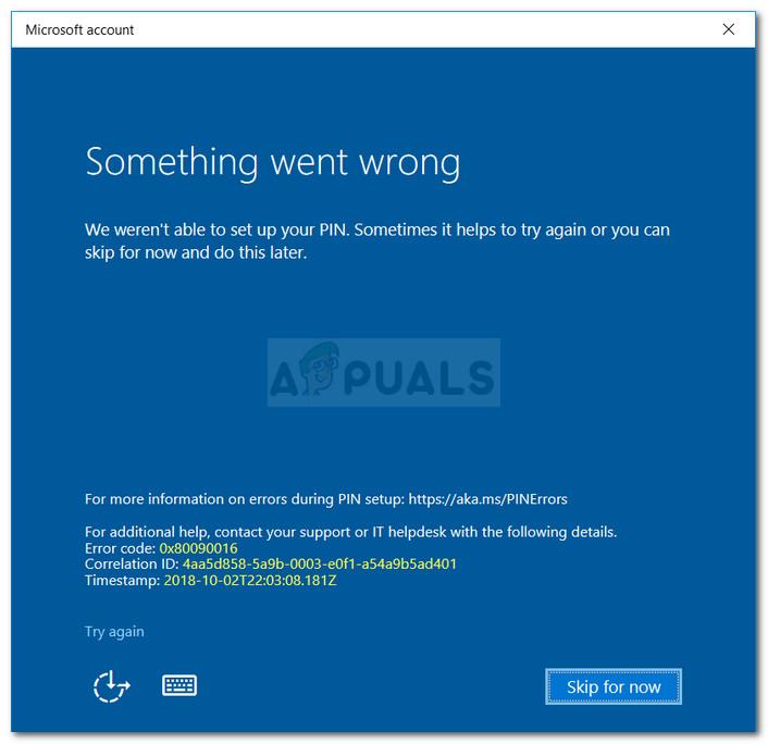 Fix: Bei Windows 10 ist ein Fehler 0x80090016 aufgetreten