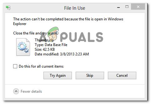Fix: Die Aktion kann nicht abgeschlossen werden, da die Datei im Windows Explorer geöffnet ist