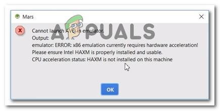 Fix: Die x86-Emulation erfordert derzeit eine Hardwarebeschleunigung