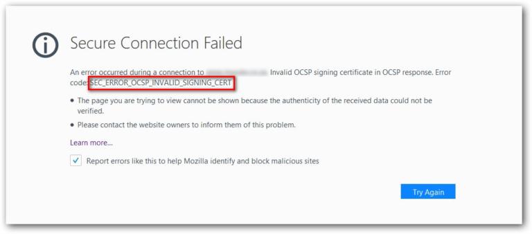 Fix: SEC_ERROR_OCSP_INVALID_SIGNING_CERT – Appuals.com