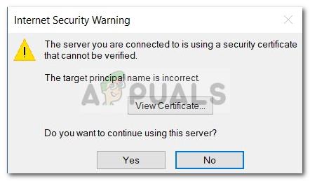 Fix: Der Server, mit dem Sie verbunden sind, verwendet ein Sicherheitszertifikat, das nicht überprüft werden kann