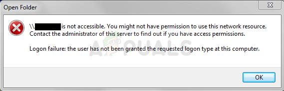 Fix: Möglicherweise haben Sie keine Berechtigung zur Verwendung dieser Netzwerkressource