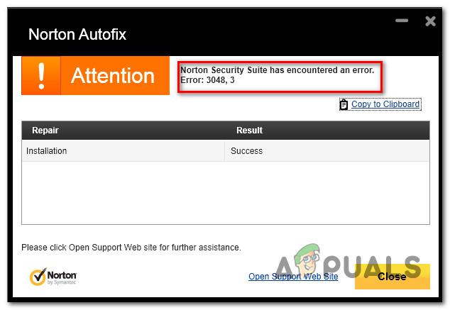 Fix: Norton-Fehler 3048, 3