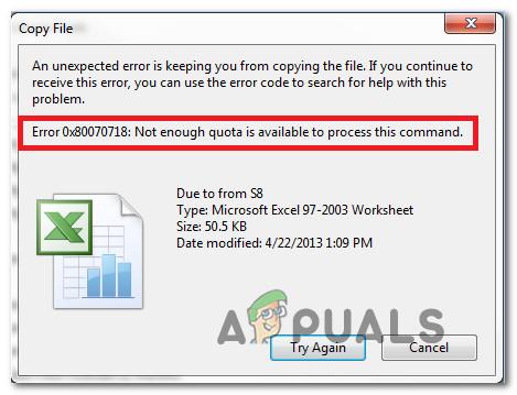 Fix: Fehler 0x80070718 Es ist nicht genügend Kontingent verfügbar, um diesen Befehl zu verarbeiten