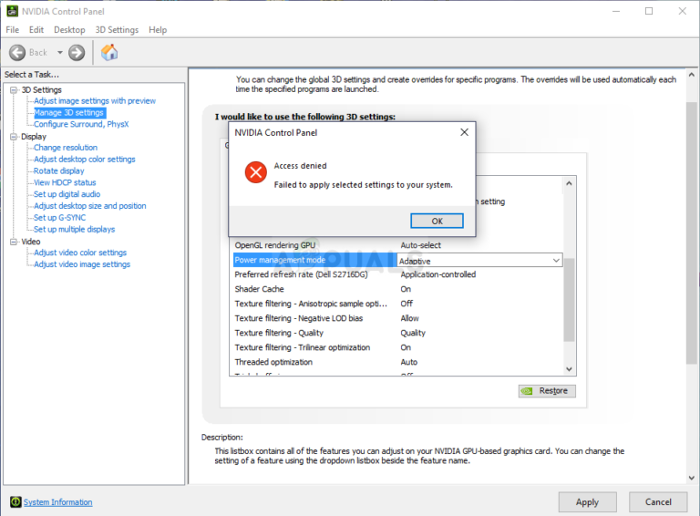 Fix: Zugriff in NVIDIA Control Panel verweigert