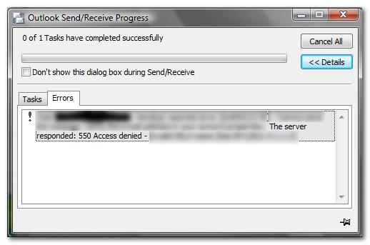Fix: SMTP-Fehler 550 beim Senden von E-Mails