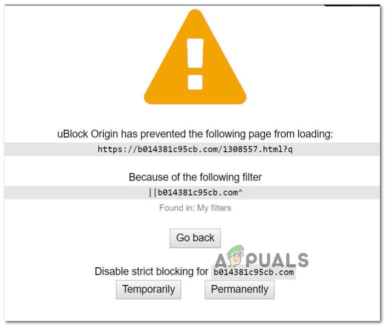 Fix: uBlock Origin hat das Laden der folgenden Seite verhindert