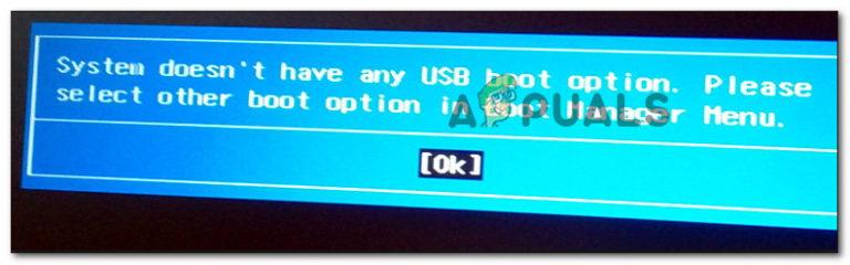 Fix: Das System hat keine USB-Boot-Option