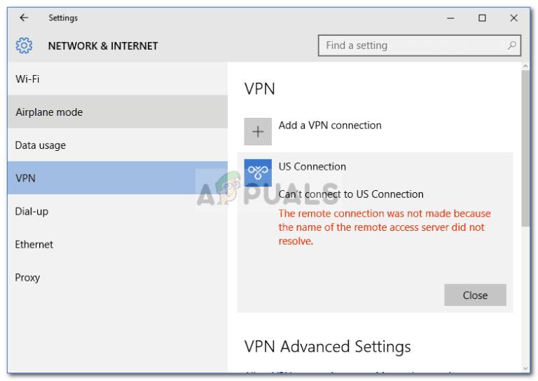 Fix: Die Remoteverbindung wurde nicht hergestellt, da der Name des RAS-Servers nicht aufgelöst wurde