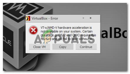 Fix: Die VT-X / AMD-V-Hardwarebeschleunigung ist auf Ihrem System nicht verfügbar
