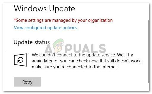 Fix: Wir konnten unter Windows 10 keine Verbindung zum Update-Dienst herstellen