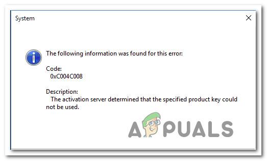 Fix: Windows-Aktivierungsfehlercode 0xC004C008