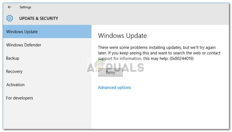 Fix: Windows Update-Fehler 0x80244019 unter Windows 10