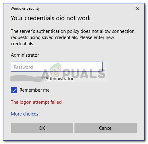 Fix: Ihre Anmeldeinformationen funktionierten auf dem Remotedesktop nicht