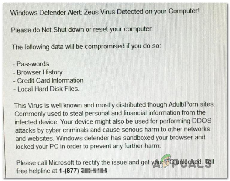 Fix: Windows Defender-Warnung: Zeus-Virus auf Ihrem Computer erkannt