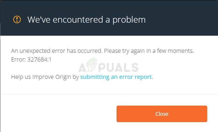 Fix: Ursprungsfehler 327684: 1 – Appuals.com