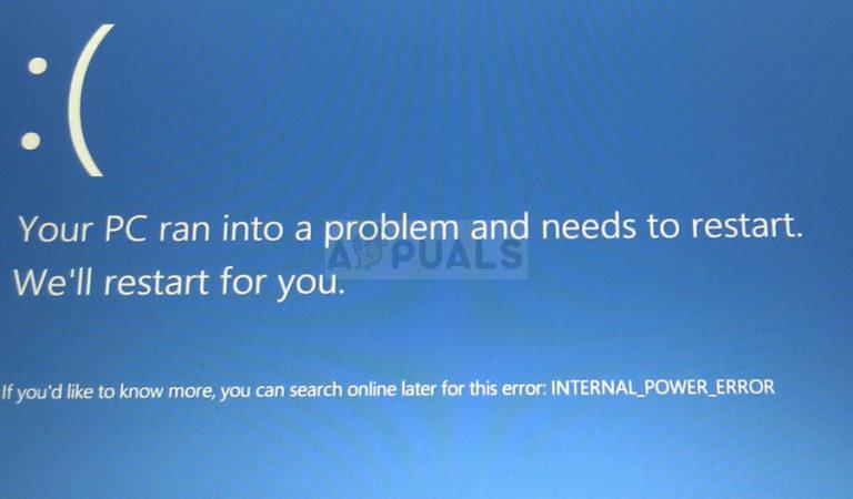 Fix: INTERNAL_POWER_ERROR Blue Screen unter Windows 10