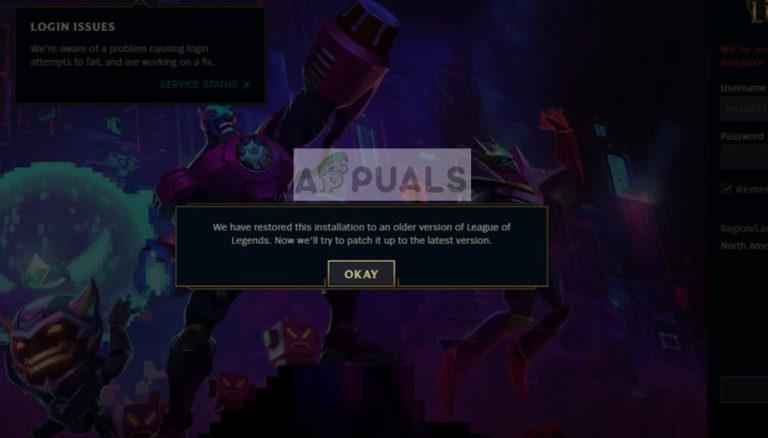Fix: Es gab ein Problem beim Patchen der League of Legends-Schleife
