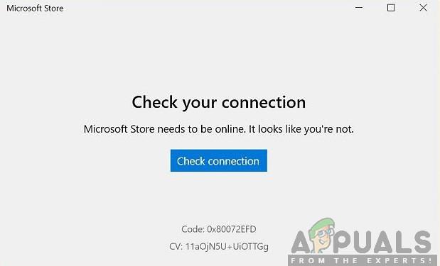 Fix: Microsoft Store 'Überprüfen Sie Ihre Verbindung'