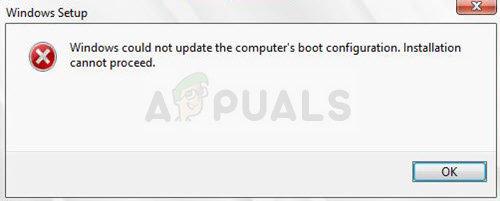 Fix: Windows konnte die Boot-Konfiguration des Computers nicht aktualisieren