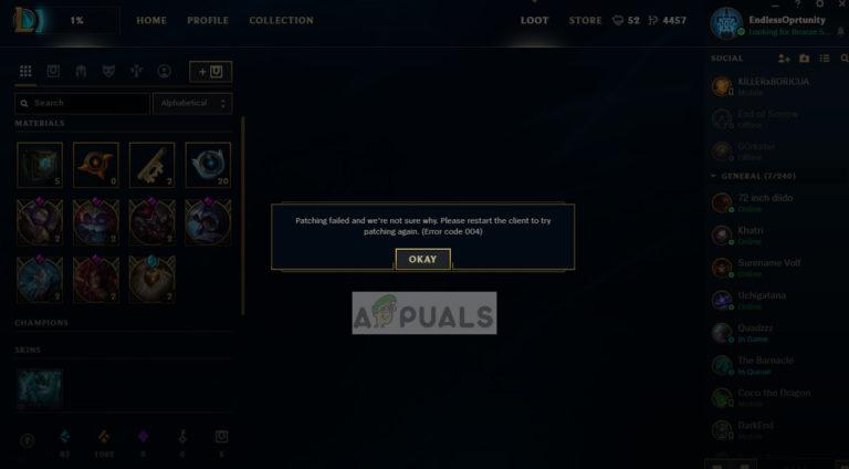 So beheben Sie den League of Legends-Fehlercode 004