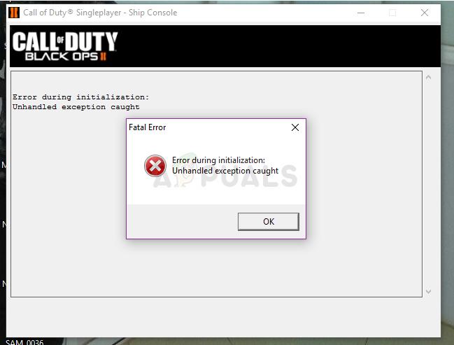 So beheben Sie das Problem mit Black Ops 2 Unhandled Exception Caught