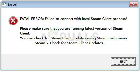 So beheben Sie FATAL ERROR: Verbindung zum lokalen Steam-Client-Prozess fehlgeschlagen!