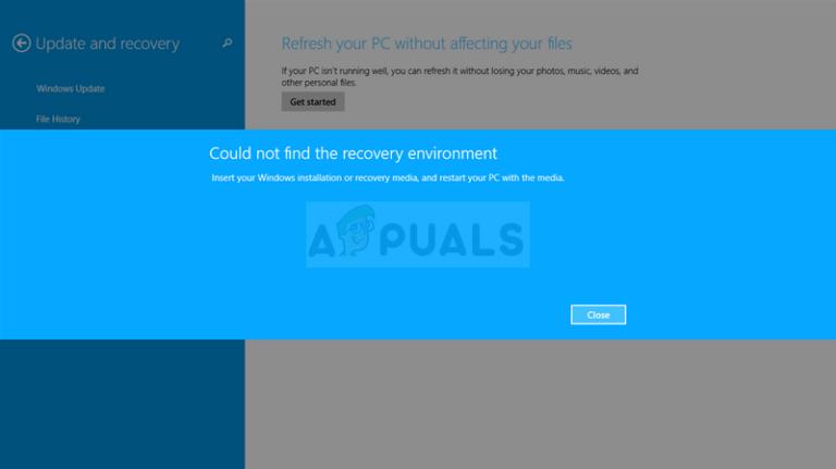 Fix: Die Wiederherstellungsumgebung unter Windows 10 konnte nicht gefunden werden