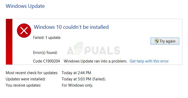 Fix: Windows Update Fehler 0xc1900204
