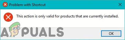 Fix: Diese Aktion gilt nur für Produkte, die derzeit installiert sind