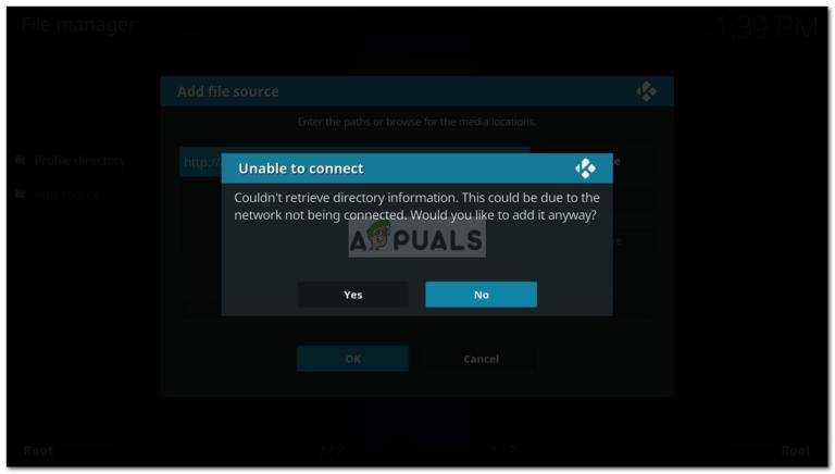 Fix: Kodi kann keine Verzeichnisinformationen abrufen